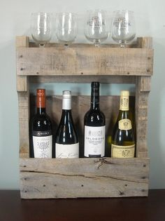 Rustic Wine Rack / Small Rustic Wine Rack / Reclaimed Pallet Wood / 4 Wine Bottles / Wine Box / Photo Shelf / Pallet Furniture. $45.00, via Etsy.