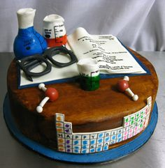 Awww I want this cake! Science Cake, Science Party, Pretty Cakes, Cute Cakes, Chemistry Cake, Teacher Cakes, Retirement Cakes, Specialty Cakes, Celebration Cakes