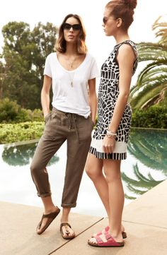 Pair Birkenstock sandals with a weekend tee and pants for a laid back summer look
