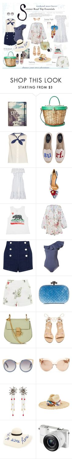 """Summer Road Trip Essentials"" by thewondersoffashion ❤ liked on Polyvore featuring Dolce&Gabbana, Marc Jacobs, Soludos, Lisa Marie Fernandez, Dsquared2, Billabong, Zimmermann, Miss Selfridge, Topshop and Bottega Veneta"