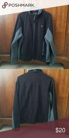 Black and Grey American Eagle Fleece jacket. Nice lightweight fleece. Men's Medium. Jackets & Coats Lightweight & Shirt Jackets