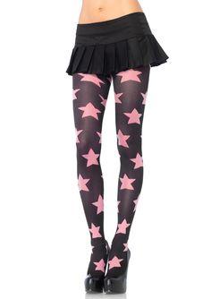 Sexy Black w/ Sheer Pink Star Tights Goth Doll Punk Rocker Harajuku Roller Derby Black Opaque Tights, Sheer Tights, Fall Tights, Leggings Depot, Bas Sexy, Fashion Tights, Women's Fashion, Pink Stars, Glamour