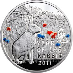 Year of the Rabbit Gold And Silver Coins, Silver Bars, Chinese Calendar, Year Of The Rabbit, Valuable Coins, Foreign Coins, Antique Coins, Zodiac Symbols, Silver Bullion