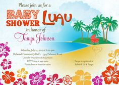 Luau baby girl shower invitation Summer tropical by CrazyLime