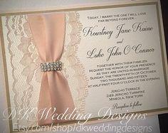 Blush Wedding Invitation, Wedding Invite, Lace Invitation, Blush and Gold glitter invitation, Lace Wedding Invite, KOURTNEY