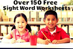 Over 150 free sight word worksheets! Each worksheet includes a sentence to practice the word in a meaningful context!