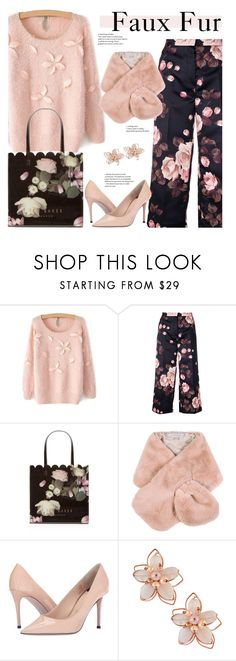 """Faux Fur - Floral Style"" by sara-cdth ❤ liked on Polyvore featuring Rochas, Ted Baker, Chesca, Paul Smith and NAKAMOL"