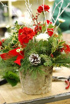 Creating Your Own Holiday Flower Arrangement - Lake Forest-Lake Bluff, IL Patch, at Lake Forest Flowers Winter Floral Arrangements, Flower Arrangements, Christmas Wedding, Christmas Time, Lake Bluff, Forest Flowers, Christmas Decorations, Table Decorations, Lake Forest