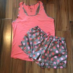 Summer pj set Adorable satin polka dot shorts with matching racerback tank. PJ Couture Intimates & Sleepwear Pajamas