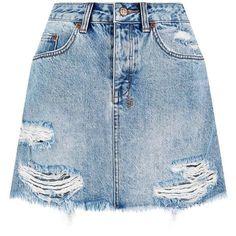Ksubi Mini Moss Denim Skirt (1.345 NOK) ❤ liked on Polyvore featuring skirts, mini skirts, bottoms, saias, faldas, ripped denim skirt, denim mini skirt, blue skirt, ksubi and summer skirts