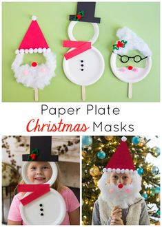 Turn paper plates into the cutest Christmas masks featuring Santa, Mrs. Claus, and Frosty the Snowman! Turn paper plates into the cutest Christmas masks featuring Santa, Mrs. Claus, and Frosty the Snowman! Christmas Crafts For Kids To Make, Preschool Christmas, Christmas Activities, Diy Christmas Ornaments, Preschool Crafts, Diy Crafts For Kids, Christmas Jewelry, Summer Crafts, Santa Crafts