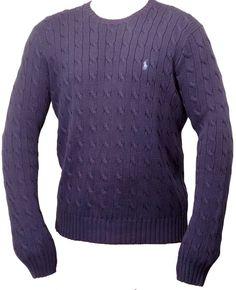 POLO By Ralph Lauren Blue Cable Knit Long Sleeve Sweater 100% Cotton Size Large #PoloRalphLauren #Crewneck