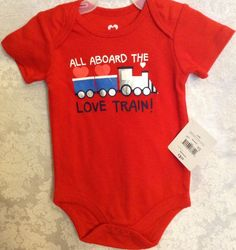 All Aboard The Love Train 1P Romper Creeper Red Sz 3-6 Infant Baby Boys NWT    eBay