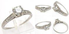 Art Deco Antique Transitional Cut Diamond Engagement Ring Solid Platinum - EraGem