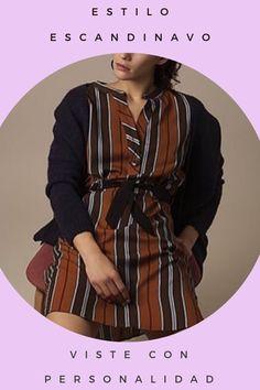 Vestido de rayas de corte recto con cinturón. Un modelo moderno, elegante y de tendencia. #vestidos #skatïebrand  #estilonordico #modafemenina #aw19
