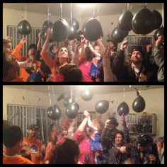 Baby gender reveal party...football themed to coincide with the BSU game. As an extra surprise that nobody expected, we also revealed the name on a sign right after the blue confetti-filled balloons were popped.