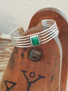 "Sterling Silver Cuff bracelet malachite green stone Sterling silver Bracelet size 6.25"" handmade silver jewelry -NZ1862  - pinned by pin4etsy.com"