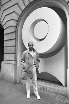 """André Courrèges, 1969. Valerie Steele, director and chief curator of The Museum at the FIT said, """"In the 1960s, the French had no youth culture the way the English and Americans did — no Beatles, no Rolling Stones. Confronted with London Youthquake fashions, the French couture was frozen. Then Courrèges used the idea of futurism as a metaphor for youth — all his moon girl outfits, silver trousers, etc. That was really pivotal. // WWD"""