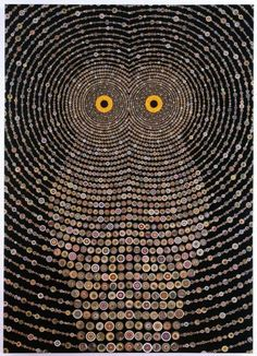 Fred Tomaselli, Night Music for Raptors, 2010. Photo collage, acrylic and resin on wood panel, 84 x 60 in. (213.4 x 152.4 cm)