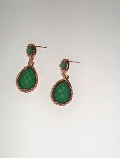 Vintage Green Crystal Gold Earrings Dangle Emerald Facetted Metallic Costume Jewelry on Etsy, $7.40