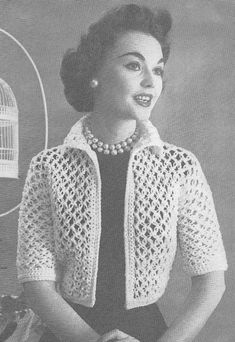 Vintage Crochet Knot Lace Bolero Shortie Jacket Pattern-This would be really cute in a modern color. Vintage Crochet PATTERN to make Knot Lace Bolero Shortie Jacket NOT a finished item This is a pattern andor instructions to make the item only *** You can Pull Crochet, Gilet Crochet, Mode Crochet, Crochet Jacket, Crochet Cardigan, Easy Crochet, Knit Crochet, Bolero Crochet, Crocheted Lace