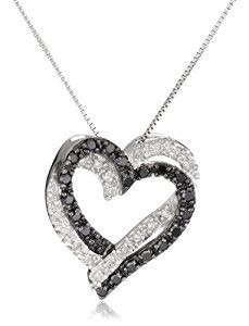 """10k White Gold Double Heart Black and White Diamond Pendant Necklace (.2 cttw, I-J Color, I2-I3 Clarity), 18""""  http://electmejewellery.com/jewelry/necklaces/10k-white-gold-double-heart-black-and-white-diamond-pendant-necklace-2-cttw-ij-color-i2i3-clarity-18-com/"""