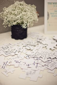 """Instead of a guest book, purchase a plain white puzzle and have guests sign it. Suggested as a wedding guest """"book"""", but would also be great for a birthday party or baby shower. Wedding Events, Our Wedding, Dream Wedding, Weddings, Wedding Stuff, Wedding Pins, Wedding Reception, Wedding Advice, Wedding Book"""