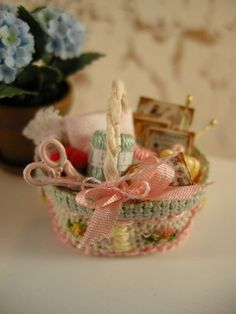 Dollhouse miniature sewing basket