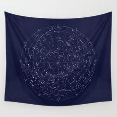 This is a hand-rendered map of constellations that can be seen in the northern hemisphere.<br/> <br/> constellation, zodiac, stars, space, indigo, hand-drawn