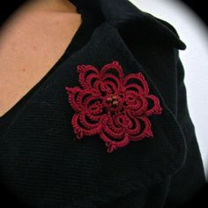 Tatted Boutonniere Lapel Pin - Large Lace Flower - Red $18
