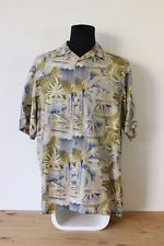 HAWAIIAN SHIRT mens floral tee HIPSTER trendy holiday BRIGHT VINTAGE Festive L