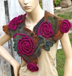 Crochet Scarf CapeletSchadows BrownPurpl Roses by Degra2 on Etsy