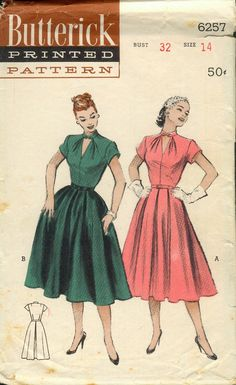 Love this neckline Skirt Patterns Sewing, Vintage Dress Patterns, Clothing Patterns, Vintage Dresses, Vintage Outfits, Sewing Patterns Girls, Vintage Clothing, 1940s Fashion, Vintage Fashion
