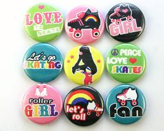 roller derby skate skating magnet pin badge button cab charm girl party favor on Etsy, $12.95
