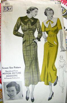 ON SALE Vintage Movie STAR Sewing Pattern 865 1930s by anne8865