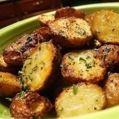 These are roasted potatoes at their best - plain and simple. Red potatoes are tossed with olive oil, and salt and pepper, and then roasted to perfection.