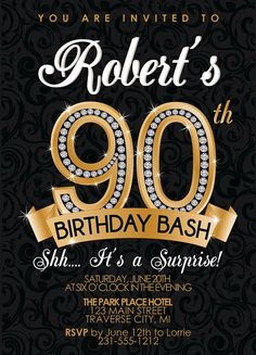 90th Birthday Party Invitations pertaining to ucwords] | Best Invitations