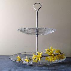 Mid century glass two tiered dessert tray  cupcake stand  on Etsy, $22.50