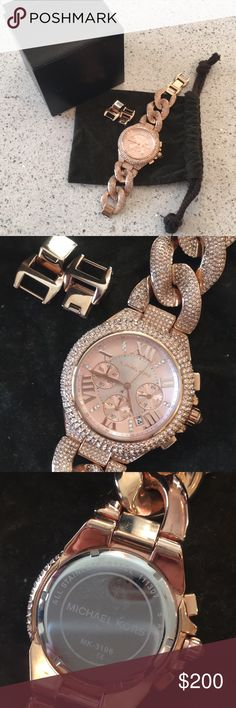Michael Kors Camille Rose Gold Pave Watch Like New Michael Kors Camille Rose Gold Pave Chain Link Watch.  Comes with box, dust bag, extra links and book. Chronograph face 44mm Case 11mm Band Width Needs Battery Michael Kors Accessories Watches