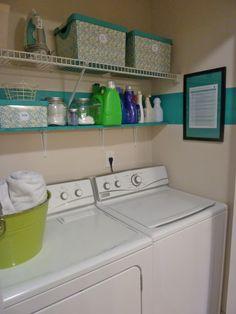 Laundry room w/ shelving... like the stripe! Looks like I may need to paint my laundry closet...