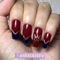 Unhas Decoradas Mulher Maravilha – Unhas da Lalá Blog - UNHAS DECORADAS Manicures, Nails, Nail Designs, Makeup, Instagram Posts, Blog, Beauty, Nail Art Designs, Nail Colors