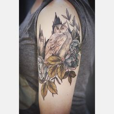 Harry Potter tattoo with ravenclaw roses, great horned owl, hogwarts: alice carrier