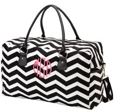 Monogrammed Black Chevron Weekender/Overnight Travel Bag Bridesmaid Bride Graduation Christmas Gift