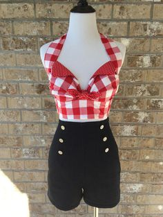 My handmade Playsuit High Waisted Stretch Denim Sailor Shorts with Red Gingham Retro Style Halter Top #countrywestern #rockabilly #handmadeclothing #handmaderetro