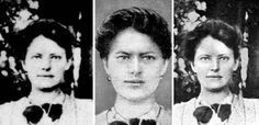 """(furthest left) the only known photograph of Franziska Schanzkowsa (Anna Anderson) which predates 1920; (middle) an illustration of the photograph that appeared in a 1927 Berlin newspaper; (furthest right) a version of the same 1916 photograph as it appeared (apparently somewhat touched up) in Pierre Gilliard's 1929 book """"The False Anastasia""""."""
