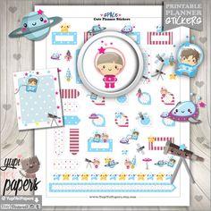 Space Stickers, Planner Stickers, Kawaii Stickers, Cute Stickers, Space Kids, Planner Accesories, Rocket, Stars, Erin Condren, Universe