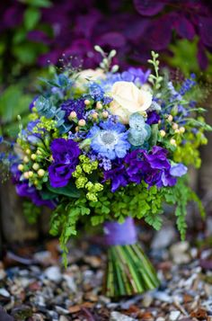 wedding bouquet. Purples and blues