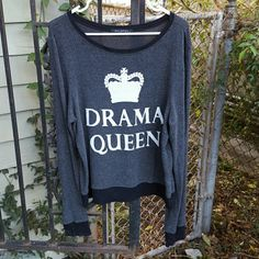 "{Wildfox} 2011 Drama Queen jumper. This is a great vintage piece from one of my favorite older collections, ""Let Them Eat Cake.""  This is NOT a Saks Off 5th reissue/reprint, the black tag inside is the old label Wildfox used then. I purchased this in the UK last year.  Wonderful pre-owned condition. Normal signs of wear for a jumper that is five years old. Still soft. Graphic is ivory and dyed in so there is no distress. One print flaw in the first ""E"" but the jumper came that way, see photo…"