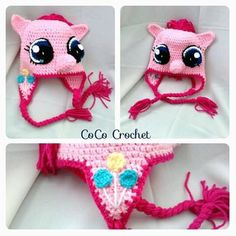 Crocheted My Little Pony Pinkie Pie Hat Toque by CoCoCrochetByLee
