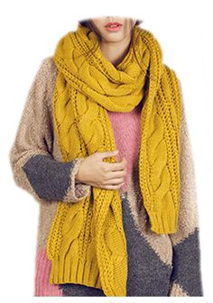 >> Click to Buy << Circle Cable Crochet Knit Scarf Shawl  Winter Warm Cowl Neck Ginger Yellow #Affiliate